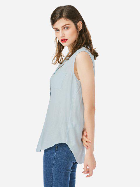 affordable ZAN.STYLE Sleeveless V-neck Tank Top - BLUE S Mobile