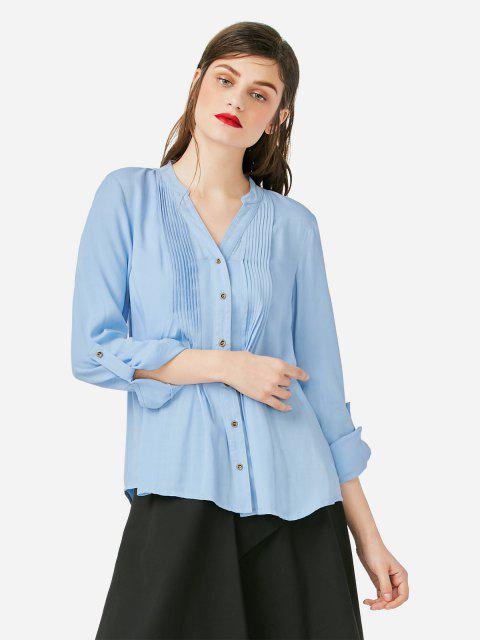 lady ZAN.STYLE Pleated Front Blouse - BLUE S Mobile