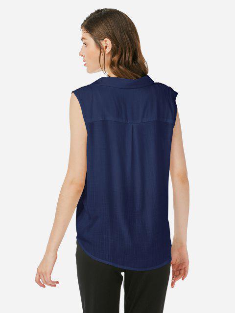 outfits ZAN.STYLE Criss-cross Sleeveless Blouse - PURPLISH BLUE M Mobile