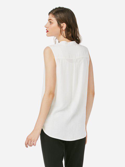 shop ZAN.STYLE Sleeveless V-neck Tank Top - WHITE XL Mobile
