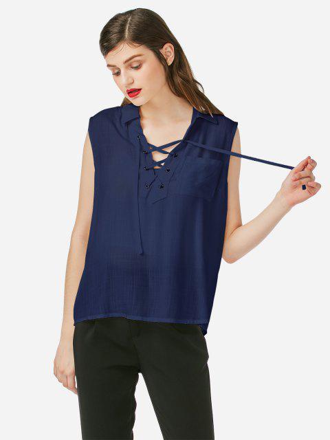 new ZAN.STYLE Criss-cross Sleeveless Blouse - PURPLISH BLUE S Mobile