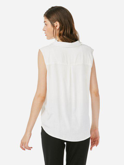 shop ZAN.STYLE Criss-cross Sleeveless Blouse - WHITE M Mobile