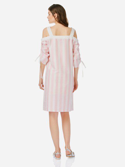 ZANSTYLE Offenes Schulter Kleid - Pink & Weiß L Mobile