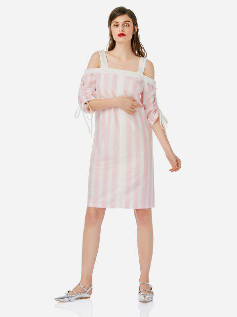 outfit ZAN.STYLE Open Shoulder Dress - PINK AND WHITE M Mobile