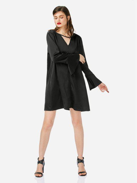 fashion ZAN.STYLE Bell Sleeve Shirt Dress - BLACK S Mobile