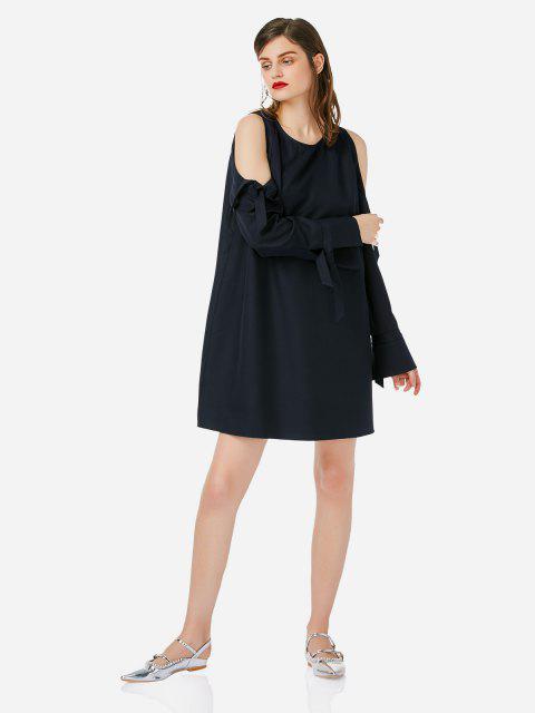 fancy ZAN.STYLE Tie Sleeve Cold Shoulder Dress - NAVY BLUE L Mobile
