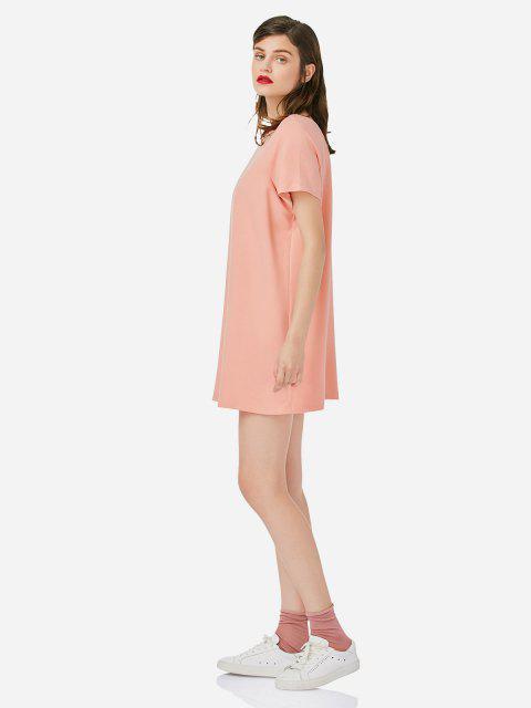 lady ZAN.STYLE Crew Neck Shirt Dress - PINK S Mobile