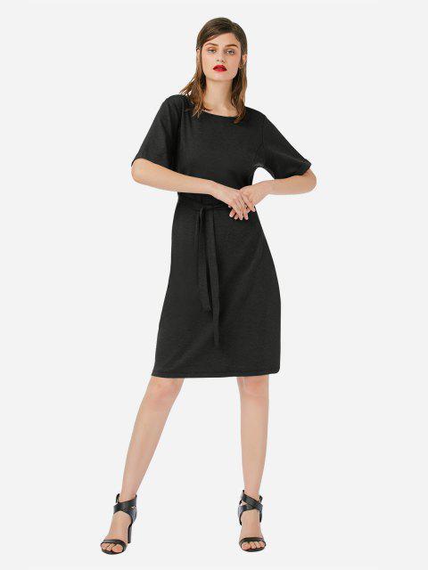 fancy ZAN.STYLE Crew Neck Dress - HEATHER BLACK L Mobile