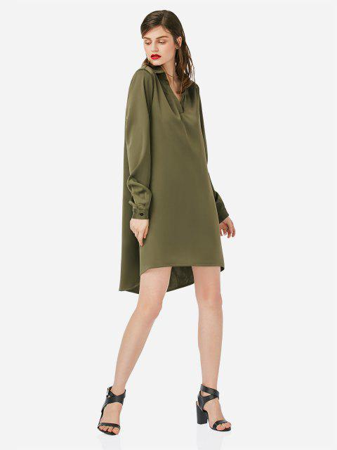 affordable ZAN.STYLE Loose Shirt Dress - ARMY GREEN S Mobile