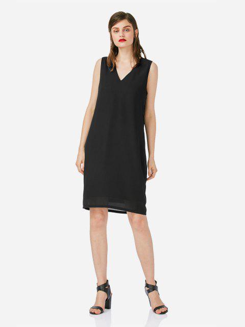 Frauen V Ausschnitt Ärmelloses Schwarzes Kleid - Schwarz L Mobile