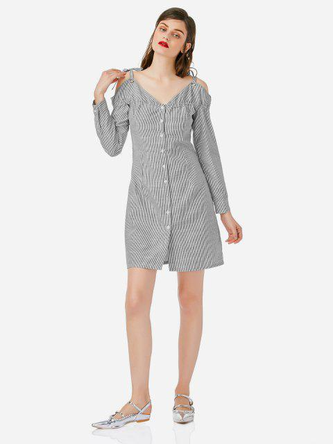 shop ZAN.STYLE Off Shoulder Shirt Dress - GRAY AND WHITE M Mobile