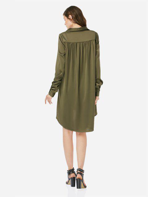 ZAN.STYLE Loose Shirt Dress - الجيش الأخضر M Mobile