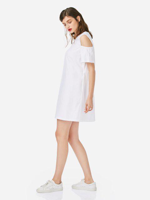 Vestido de algodão de ombro aberto - Branco L Mobile