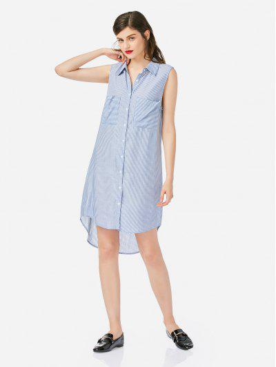 ZAN.STYLE Sleeveless Collar Shirt Dress - Blue L