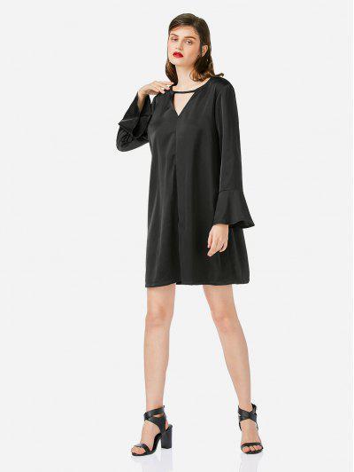 ZAN.STYLE Bell Sleeve Shirt Dress - Black L