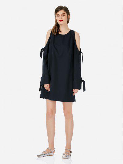 ZAN.STYLE Tie Sleeve Cold Shoulder Dress - Navy Blue M