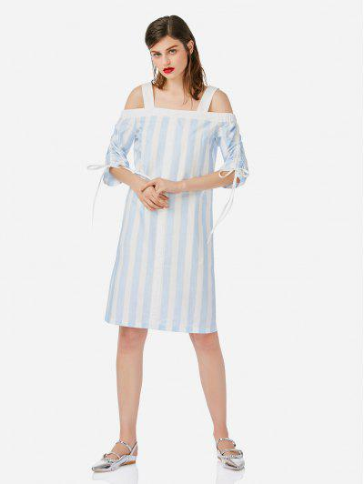 ZAN.STYLE Open Shoulder Dress - Blue And White M