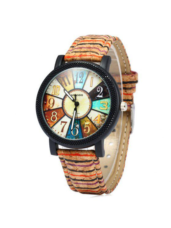 fashion Sonsdo 6838 Retro Quartz Watch with Unique Leather Band for Lady - COLORMIX