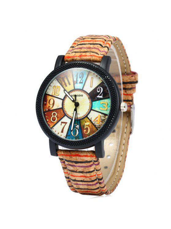 fashion Sonsdo 6838 Retro Quartz Watch with Unique Leather Band for Lady - COLORMIX