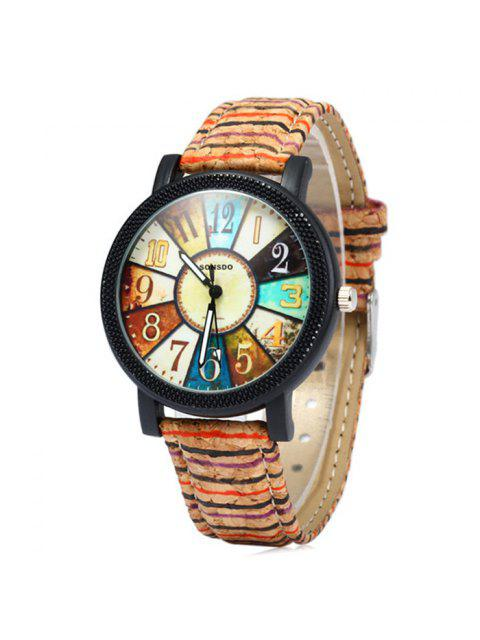 fashion Sonsdo 6838 Retro Quartz Watch with Unique Leather Band for Lady - COLORMIX  Mobile