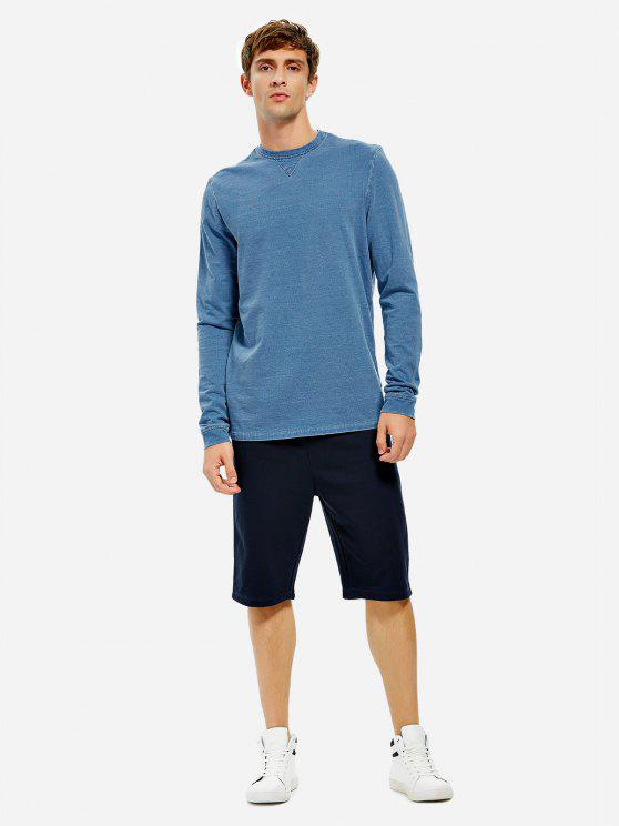 best ZAN.STYLE Men Crew Neck Long Sleeve Sweatshirt - INDIGO 2XL