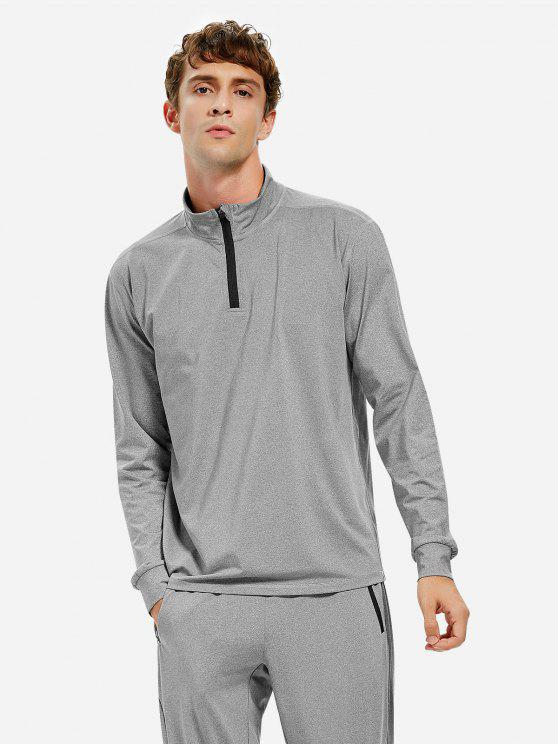 shop ZAN.STYLE Men Half Zip Long Sleeve Sweatshirt - HEATHER GRAY 3XL