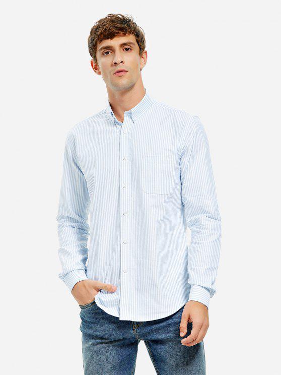 ladies ZAN.STYLE Cotton Oxford Dress Shirt - BLUE WHITE STRIPED 2XL