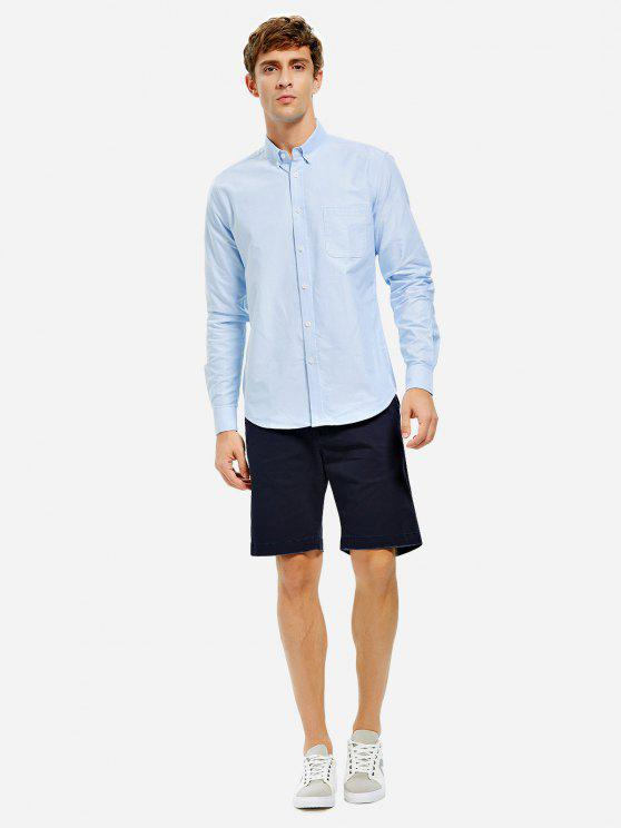 chic ZAN.STYLE Oxford Dress Shirt - BLUE M