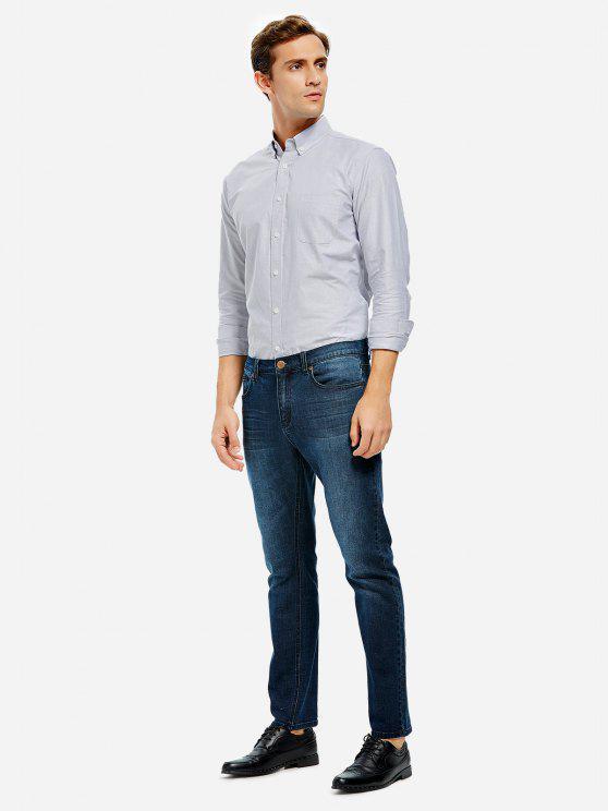 unique ZAN.STYLE Oxford Dress Shirt - GRAY 2XL