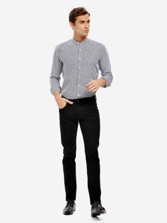 best ZAN.STYLE Band Collar Dress Shirt - BLACK WHITE STRIPED 3XL