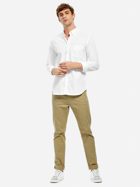 Camisa de vestir con cuello de algodón para hombres - Blanco M