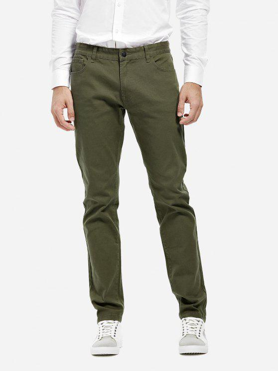 shops ZAN.STYLE Stretch Knit Slim Fit Pants - ARMY GREEN 34