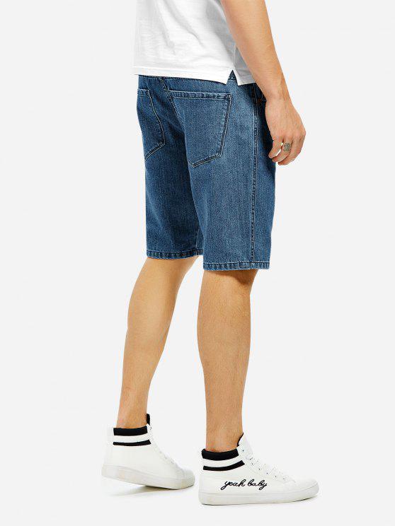 shops ZAN.STYLE Knee Length Denim Shorts - BLUE 38