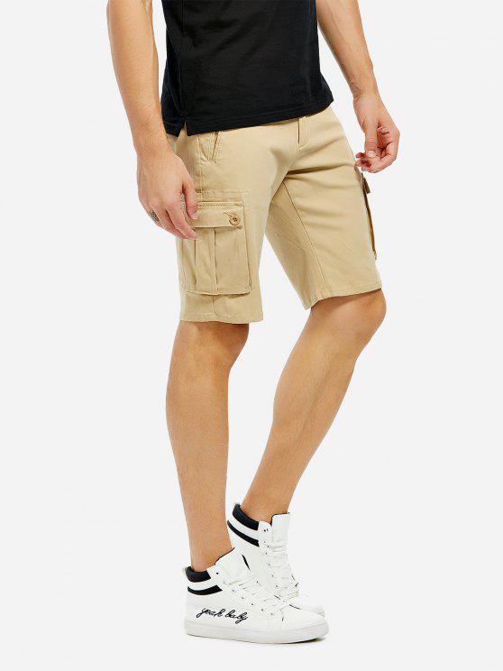 ZANSTYLE Männer Knielänge Khaki Cargo Shorts - Khaki 38