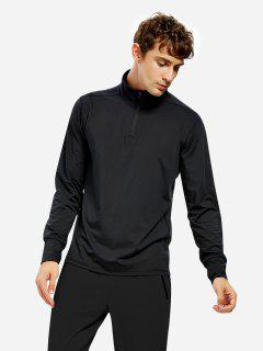 Men Half Zip Long Sleeve Sweatshirt - Black L
