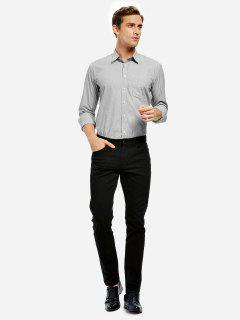 Cotton Dress Shirt - Black White Striped M