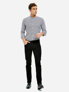 Band Collar Dress Shirt - Black White Striped M