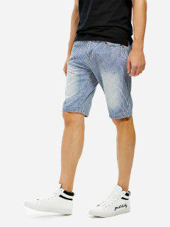 Knee Length Contrast Denim Shorts - Blue Striped 42