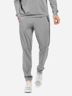 Men Joggers Sweatpants With Zip Pocket - Heather Gray L