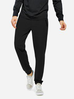 Men Joggers Sweatpants With Zip Pocket - Black L