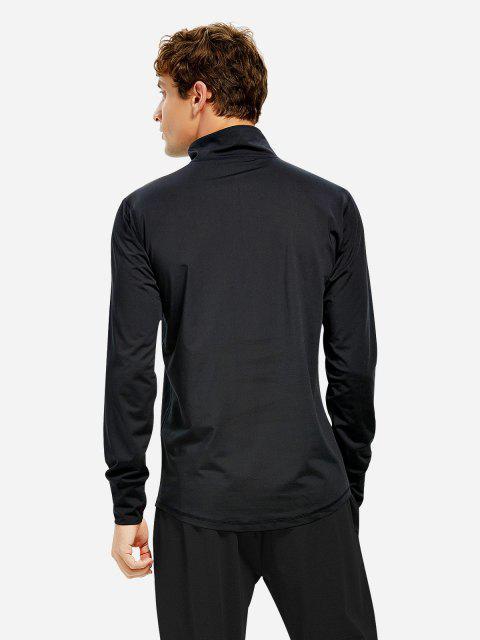 Sweat-shirt Homme à Demi Zippé à Manches Longues - Noir 3XL Mobile