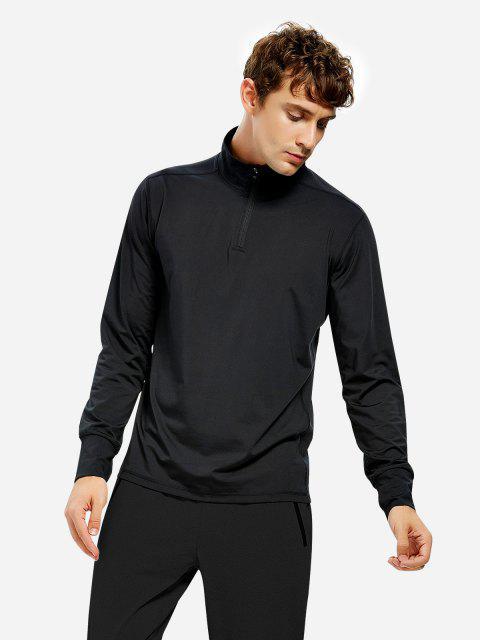 women ZAN.STYLE Men Half Zip Long Sleeve Sweatshirt - BLACK 2XL Mobile