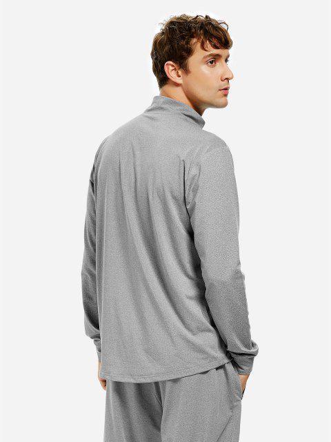 shop ZAN.STYLE Men Half Zip Long Sleeve Sweatshirt - HEATHER GRAY 3XL Mobile