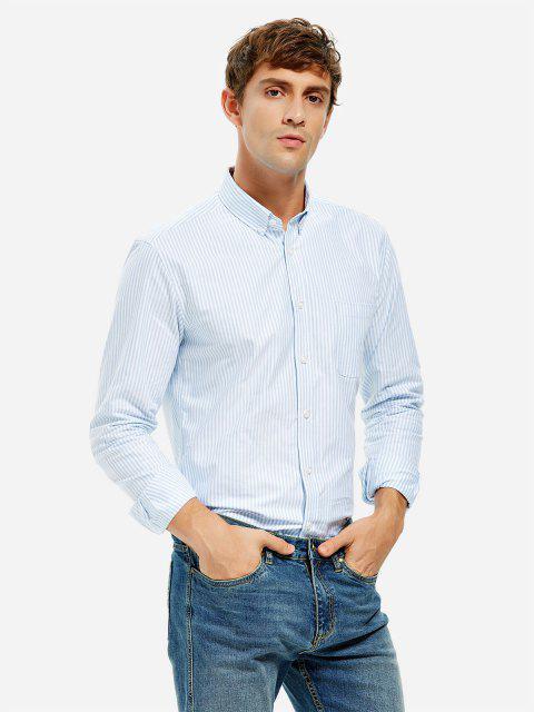 Vestido de Camisa de Algodón con Escote Pico - RAYADO AZUL Y BLANCO XL Mobile