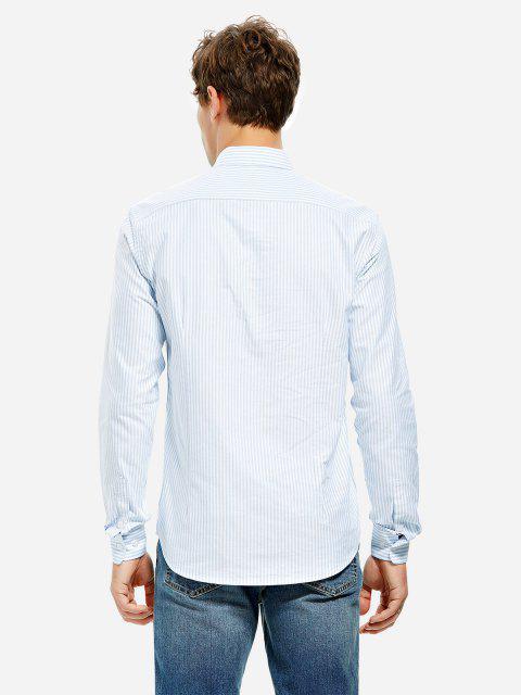 Vestido de Camisa de Algodón con Escote Pico - RAYADO AZUL Y BLANCO M Mobile