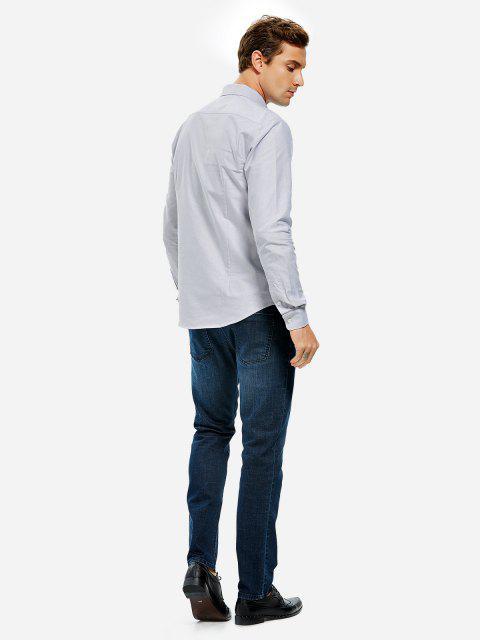 sale ZAN.STYLE Oxford Dress Shirt - GRAY XL Mobile