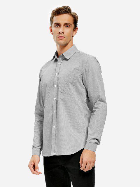 ladies ZAN.STYLE Cotton Dress Shirt - BLACK WHITE STRIPED L Mobile