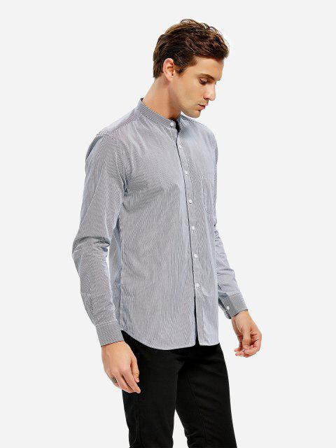 ZANSTYLE Men Stripe Band Collar Dress Shirt - PRETO BRANCO LISTRADO 2XL Mobile