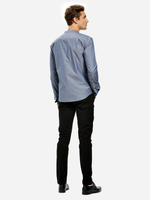 chic ZAN.STYLE Men Band Collar Cotton Dress Shirt - GRAY BLUE 2XL Mobile