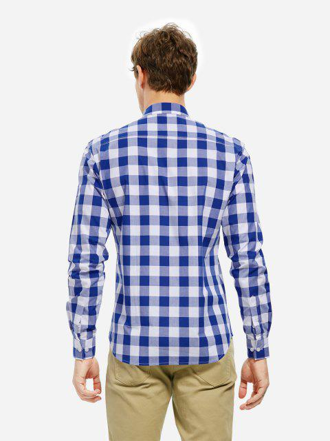 ZAN.STYLE Collar Dress Shirt - ブルーチェック L Mobile